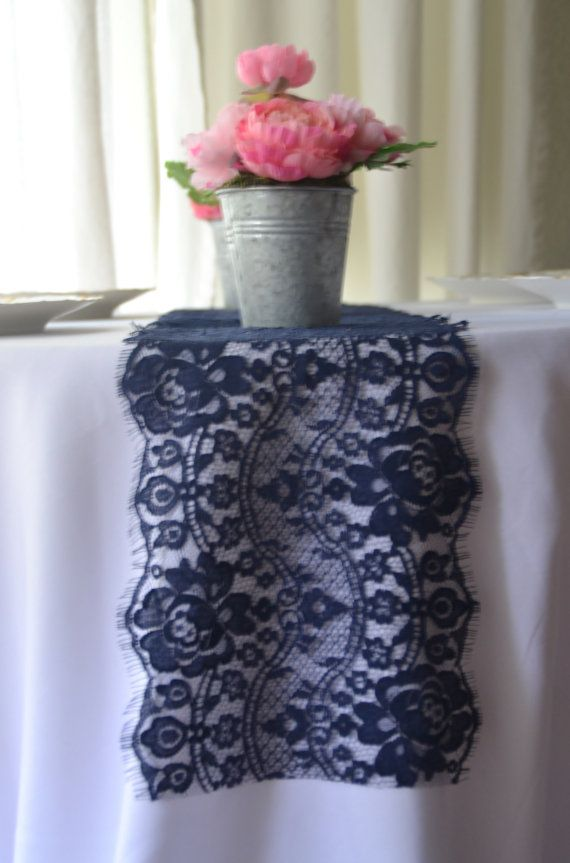 Navy Lace Table Runner 9 Wide Choose Size 3FT 15FT