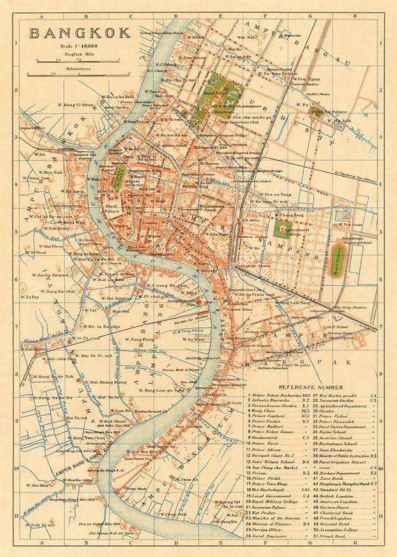 Bangkok Map Old Map Of Bangkok Thailand Archival Reproduction