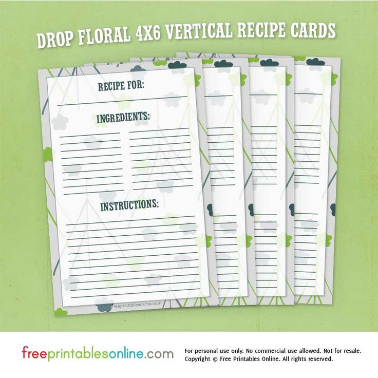 drop floral 4 6 vertical recipe cards recipe cards pinterest recipe cards and free printable. Black Bedroom Furniture Sets. Home Design Ideas