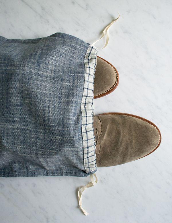 Mollys Sketchbook: Drawstring Shoe Bags - The Purl Bee