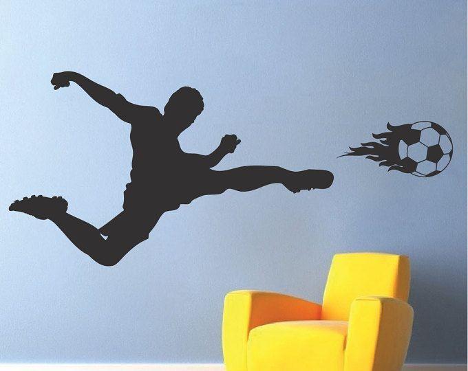 Voetbal speler muur sticker, sport muur sticker, Soccer muur muurschildering Soccer Kids kamer Decal, Soccer Wall Decor, wanddecoratie van voetbal, voetbal, s07