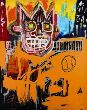 Basquiat, Orange Sports Figure 1982 NYC, hidden Basquiat signature discovered.- Sotheby's Top London