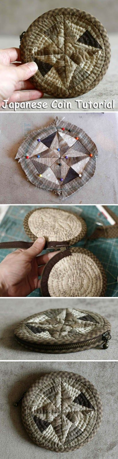 Sew Japanese Coin holders. Quilting and patchwork. DIY step-by-step tutorial. Шьём японскую монетницу. Мастер-класс. http://www.handmadiya.com/2015/09/sew-japanese-coin-holders.html