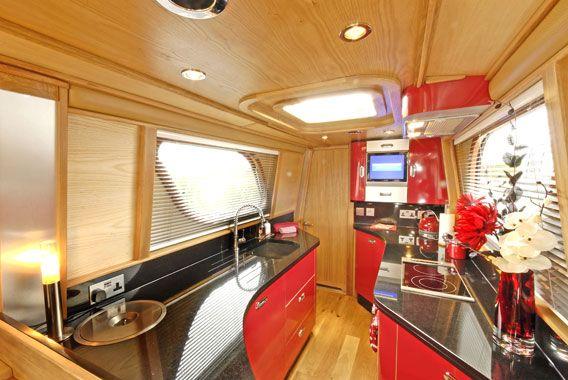 Very modern black & red galley