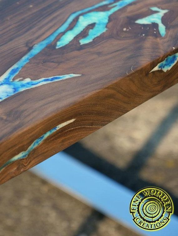 Live Edge River Coffee Table With Glowing Resin Fill In And Shiny