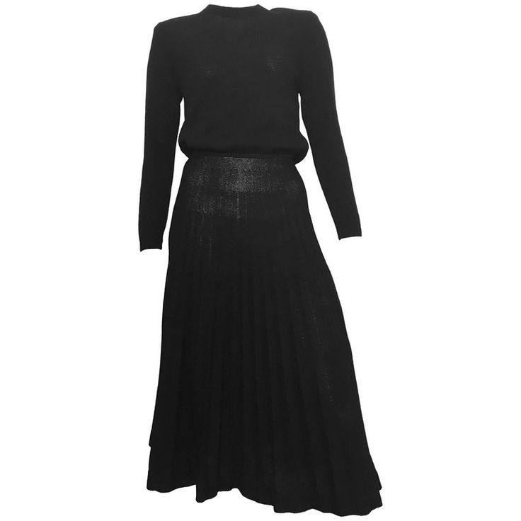 St. John for Neiman Marcus 1980s Black Pleated Knit Dress Size 4 / 6.  | From a collection of rare vintage evening dresses and gowns at https://www.1stdibs.com/fashion/clothing/evening-dresses/ @1stdibs #stjohn #knit #LBD #dress #1980s #fashion #vintage #forsale #shopping #style