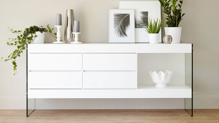 modern White Sideboard with Glass Legs