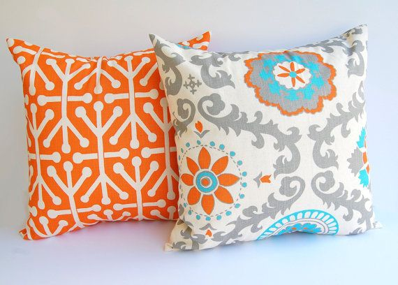 "Throw pillow covers set of two 18"" x 18"" cushion covers Orange Natural Aqua Blue Gray dosset on Etsy, $37.80 AUD"