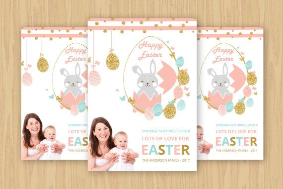 Easter Card Template  Happy Easter Photo Greeting by TemplateStock