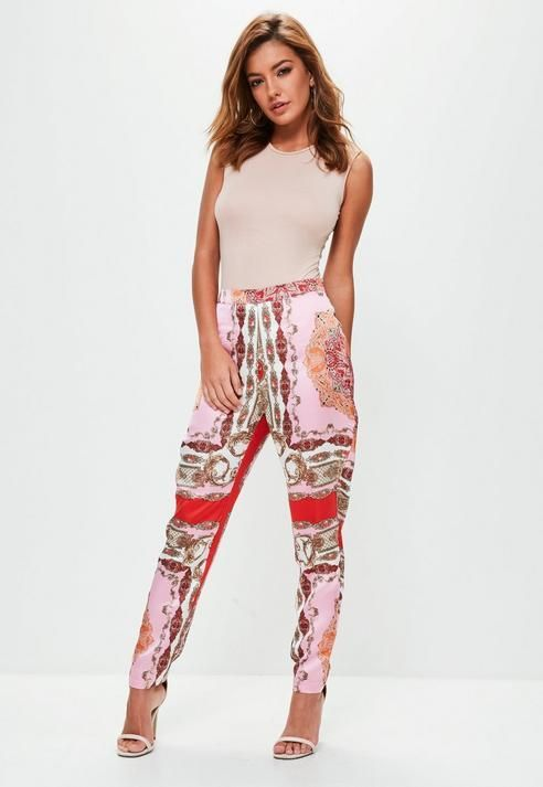 Missguided Pink Scarf Print Satin Pants
