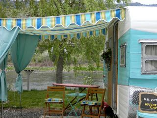 Girl Camping: Girl Camping on the Salmon River (awning with side curtains)