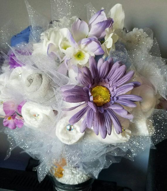 Baby Diaper bouquet - baby shower centerpiece - new mom gift - mom to be gift - new baby gift - baby washcloth bouquet - baby shower ideas