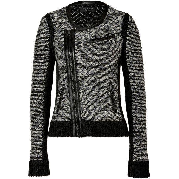 RAG & BONE Light Grey Samantha Biker Jacket found on Polyvore
