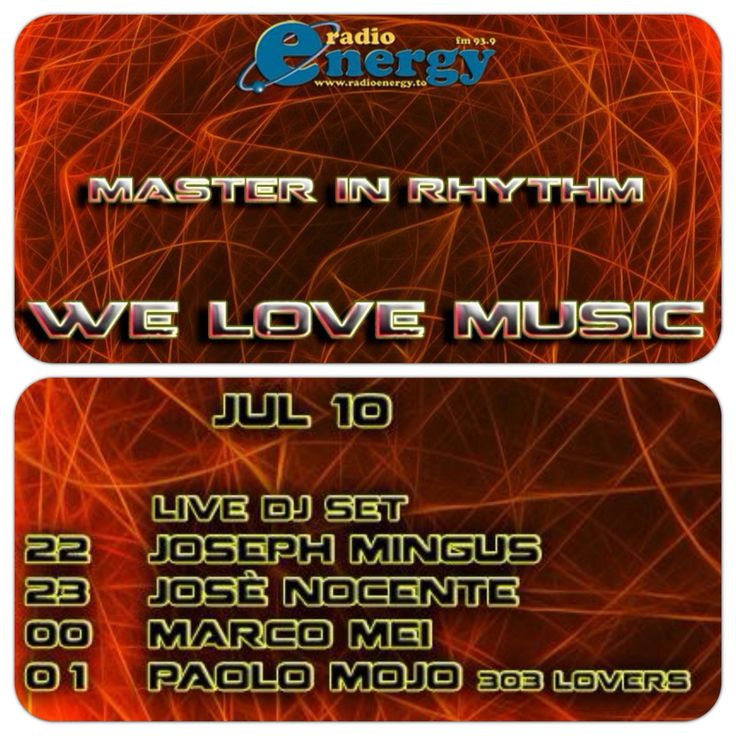 TONIGHT ON AIR ! Master in Rhythm • alongside Paolo Mojo from 303 Lovers & friends !