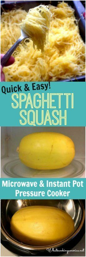 Quickly cook in the microwave or Instant Pot Pressure Cooker #spaghetti #squash #microwave #instantpot #pressurecooker #lowcarb
