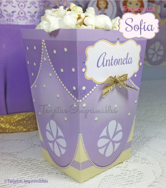 Cajita de popcorn Princesita Sofia para imprimir
