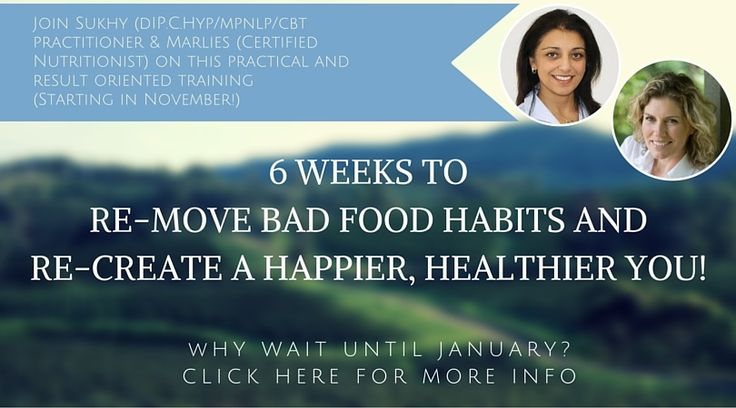 6 Weeks to remove bad food habits and re-create a happier, healthier you - that'sbefore the end of the year!  Are you a person who starts every Monday fully motivated with your diet to end u...