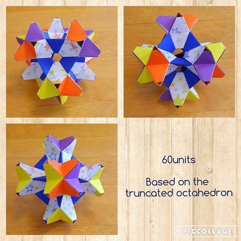 . 《 両面かめのこ立体 60枚組 切頂8面体を核に 》 . Designed by Tomoko Fuse . . なんか、面白いのができました(ノ≧∀≦)ノ . テキストの写真とはだいぶ形の印象が違いました😲 . . 凹型と凸型と、ユニットの折り方が違うので、色分けもしたいし、構造よくわからんしで、 少しずつ折りながら、少しずつ組み立てながら、仕上げました😅 . .  #折り紙 #おりがみ #origami #くす玉 #kusudama #paperfolding #papercraft #ペーパークラフト #modulerorigami #unitorigami #instaorigami # interior #インテリア #instapaper  #布施知子 #tomokofuse #両面かめのこ  #moko18junorigami2016