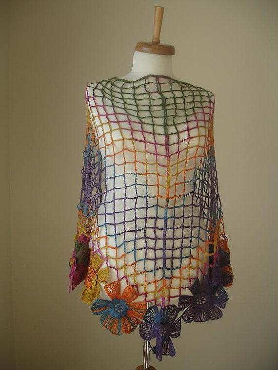 Chal triangulo de Crochetlab Multicolor flores grandes