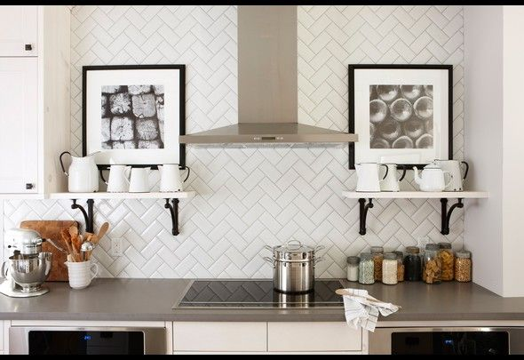 I still love a herringbone backsplash