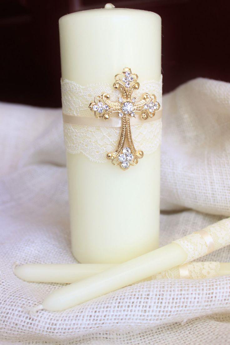 Unity Candle Set Gold Cross Candle Set, Church Wedding Unity Candles for Wedding, Lace Unity Candle Set Gold Wedding Cross Christian Wedding by BrilliantBride on Etsy https://www.etsy.com/listing/247653525/unity-candle-set-gold-cross-candle-set