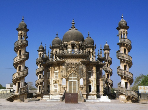 Bahauddin Makbara,  mausoleum in Junagadh, India, that was once home to the Nawabs of Junagadh. Its striking art and architecture make it one of the city's most important historical landmarks.