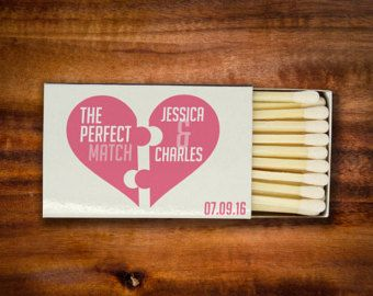 This listing is for 100 matchboxes with a customised design. These matchbox favors are just the thing for your wedding day! The standard sized matchboxes come all ready to use at your wedding, with your custom designed high quality sticker already applied.  Each box comes with approximately 24 white headed matches.