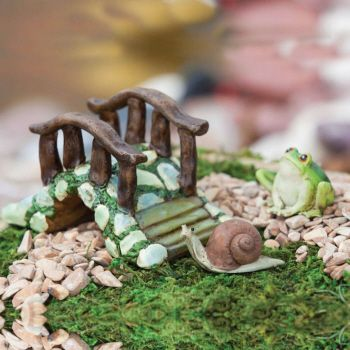 Mini Garden Bridge with Frog and Snail Statuary
