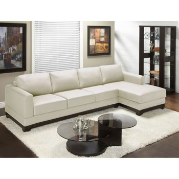 Galaxy Linen Top Grain Leather Extended Sofa with Right Hand Facing Chaise
