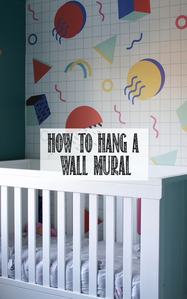 I LOVE the memphis design of this wall mural. It's so colour and 80s, perfect for a todder bedroom. Find out how to hang a wall mural with a video bhy clicking through