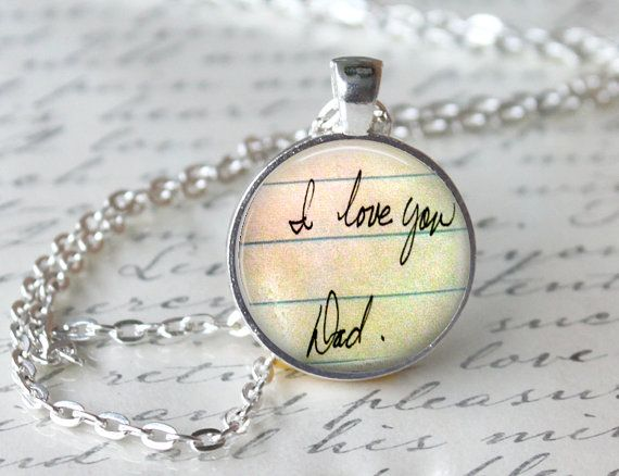 Handwriting Glass Pendant Necklace