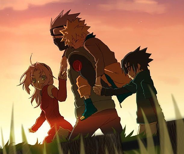 Team 7. Awww, I love how Sakura and Sasuke hold Naruto's hand <3