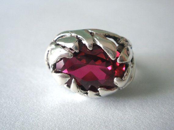 Halloween Ruby Red Zircon Handmade Sterling Silver Ring