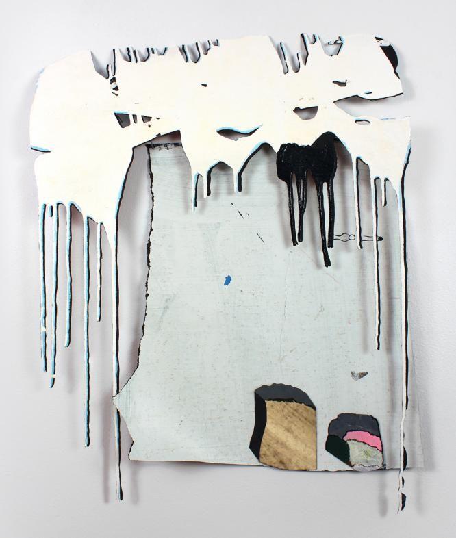 """Dripology"", Acrylic paint on tar paper, 28"" x 23"" x 3"", 2014 Bridget Mullen."
