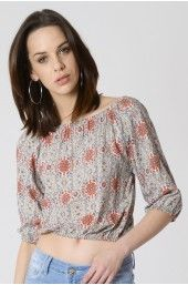 Cream Bardot top With Coral Ethnic Print