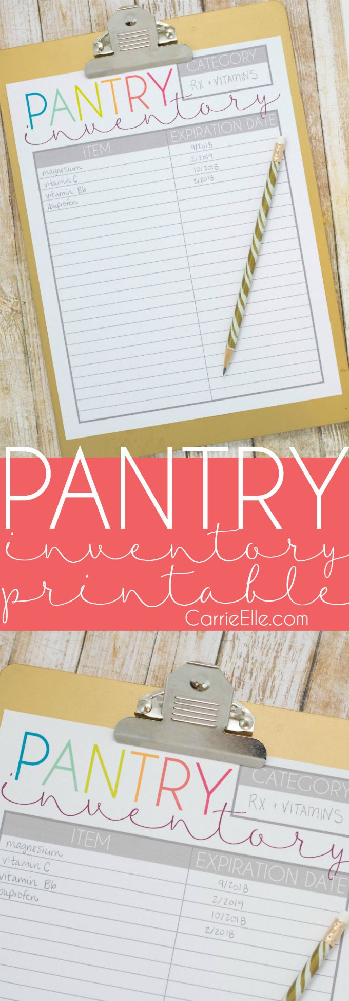 Printable Pantry Inventory List - keep up with what's in your pantry! I use mine to keep track of prescription drugs and vitamins so I know when it's time to toss or replace them. #TheCVSDifference ad