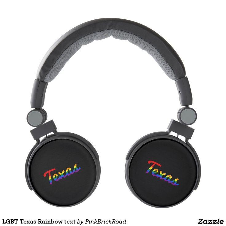 LGBT Texas Rainbow text Headphones
