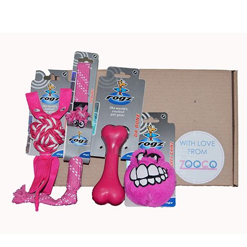 Included in the pack you will find 4 Rogz toysDurable toys available in pink or blue.Toys that will keep your ball of fur busy for hours to come!!