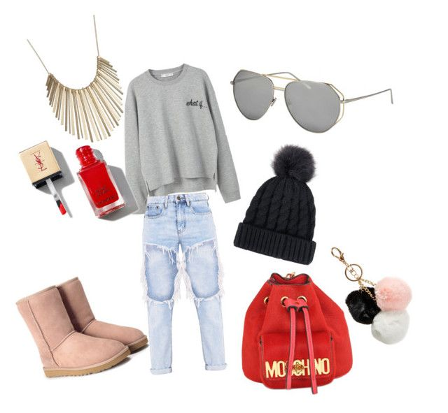Grey - Pink by lenshop-gr on Polyvore featuring MANGO, UGG, Moschino, Jennifer Lopez, GUESS and sunglasses Linda Farrow http://lenshop.gr/manufacturers/13363-linda-farrow/sunglasses