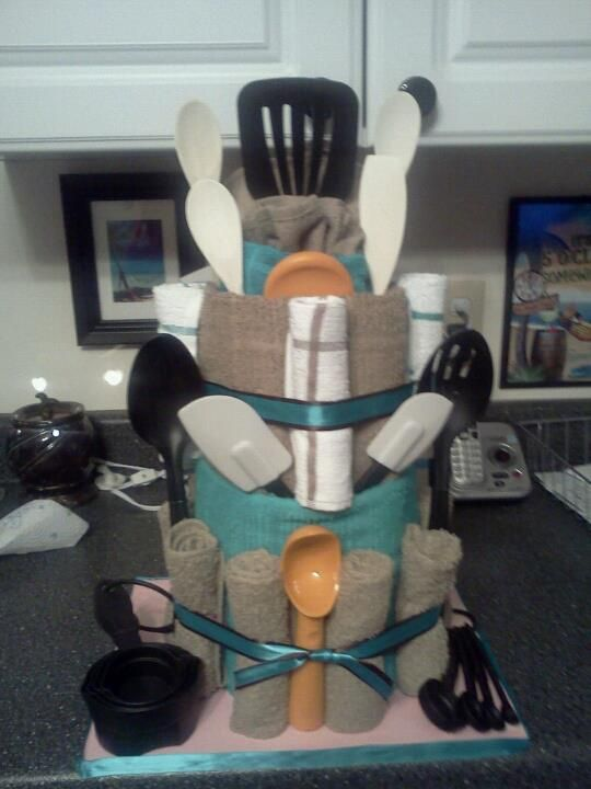"""A First Kitchen """"cake"""" - A great gift idea for newlyweds, someone moving into their first home or apartment."""