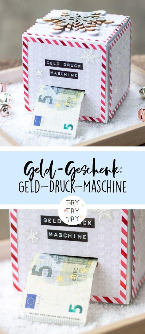 DIY Geld-Druck-Maschine – Geld-Geschenk für Weihnachten oder Geburtstag / DIY G…