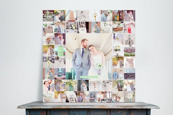 Wedding photo collage gift idea to give or display at your wedding. Use coupons from Walgreens to save on prints or canvases: http://www.coupons.com/coupon-codes/search?query=Walgreens