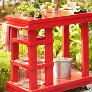 Build a Garden Cart   with dual purpose for outdoor gardening and entertaining