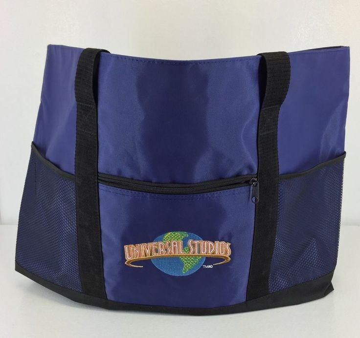 Universal Studios Huge Royal Blue Tote Bag Heavy Duty Nylon Embroidered Logo