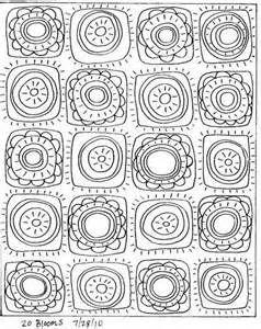 RUG HOOKING PAPER PATTERN 20 Blooms ABSTRACT FOLK ART Karla G