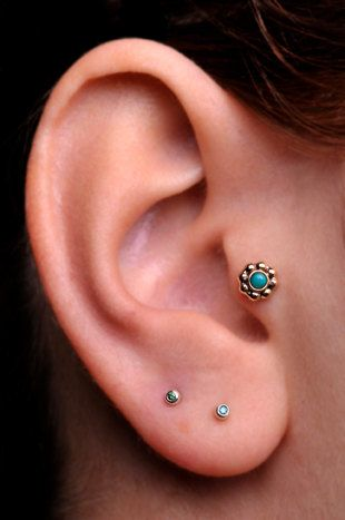 Tragus Cartilage Labret Stud 14k Gold Filled 5mm Flower With 2mm Genuine Turquoise Stone