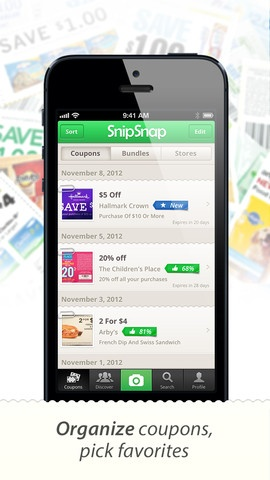Snip Snap Coupon App:  Heard about this in a magazine.  Take pictures of printed coupons, organize them, get new coupons on your iPhone, etc.  This is going to be great!