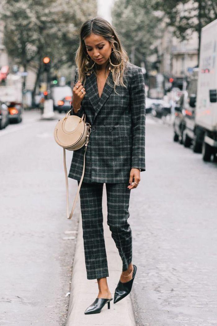 idée pour une tenue chic femme en tailleur d homme à carreaux composé de  veste à double boutonnage et un pantalon écourté qui laisse voire les mules  à talon ... da97655250b2