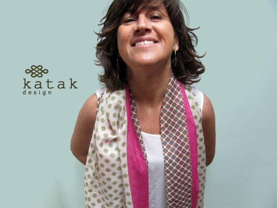 Pañuelo fular estampado, pañuelo de algodón y seda, pañuelo ligero para primavera, pañuelo rosa, regalo para mujer