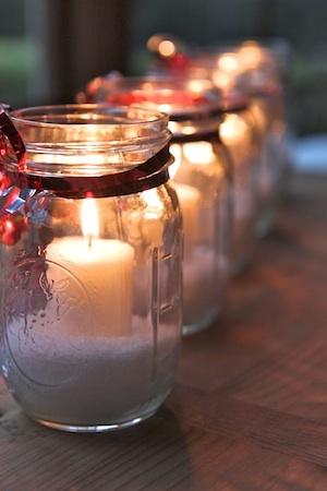 Homemade Winter Candles... mason jars, pretty ribbon/burlap, fake snow, and candles (real of fake)